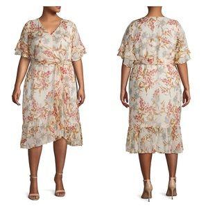 Vince Camuto Plus Floral-Print Midi Wrap Dress
